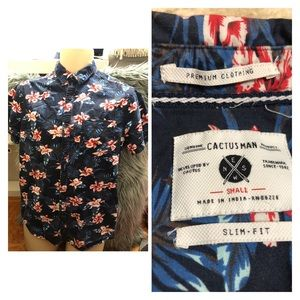 Cactus Men button down fitted shirt in small